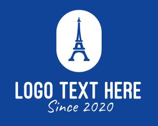 France - Blue Eiffel Tower logo design