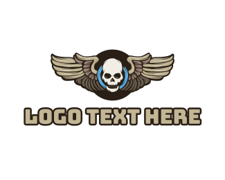 Tire - Wheel Skull Wing logo design