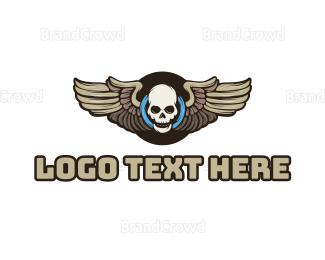 Music Production - Wheel Skull Wing logo design