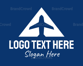Commercial Plane - Blue Airplane A logo design