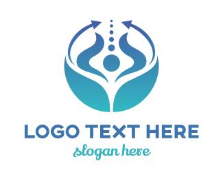 Therapeutic - Blue Arrow Globe logo design