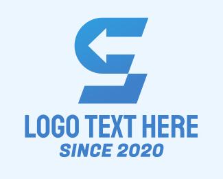 Right - Blue Arrow Letter S logo design