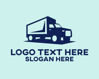 Hauling - Blue Trailer Truck logo design