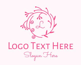 Beauty - Pink Ornamental Wreath Lettermark logo design