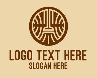 Witch - Brown Broom Emblem  logo design