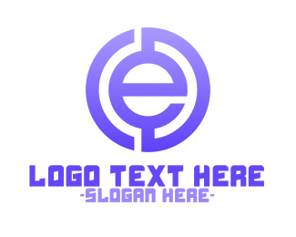 Euro - Purple Tech Letter E logo design