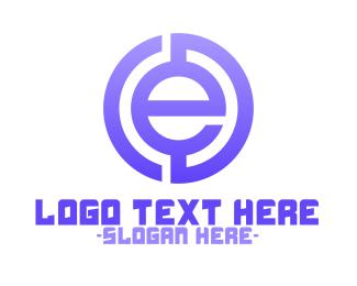 """""""Purple Tech Letter E"""" by eightyLOGOS"""