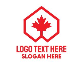 Montreal - Red Canadian Maple Geometric logo design