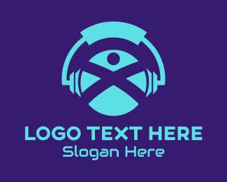 Listening - Blue DJ Headphone logo design