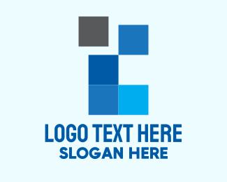 Pixelated - Blue Square Pixel logo design