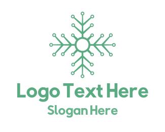 Snowflake - Flower Tech logo design