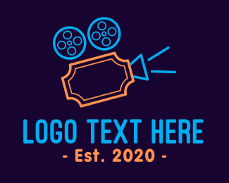 Video Recording - Blockbuster Movie Ticket  logo design