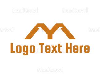 Roof - Orange Roof M logo design