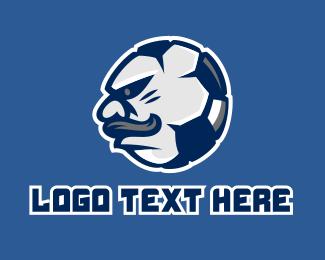 Soccer Team - Soccer Mustache Mascot  logo design