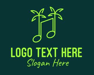 Tropical - Neon Tropical Music logo design