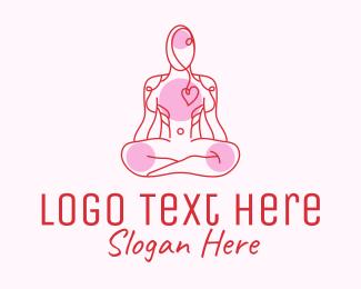 Yoga Pose - Wellness Yoga Heart Care logo design