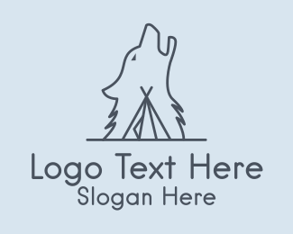 Hut - Wolf Camp Tent logo design