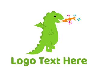 Pediatrician - Fire Flower Dragon logo design