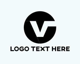 Sphere - Black V Circle logo design