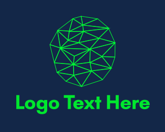 Artificial Intelligence - Fluorescent Green Connections logo design
