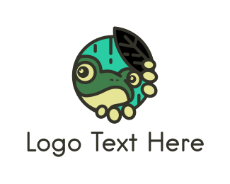 Pond - Green Frog Circle logo design