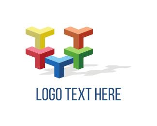 Tetris - Colorful Blocks logo design