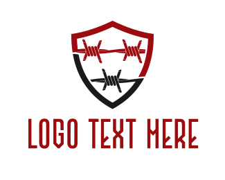 Fence - Barbed Wire Shield logo design