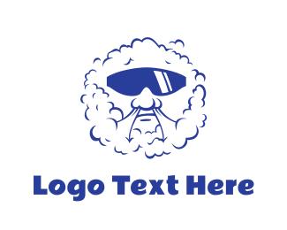 Burning Man - Blue Shades Vaper logo design