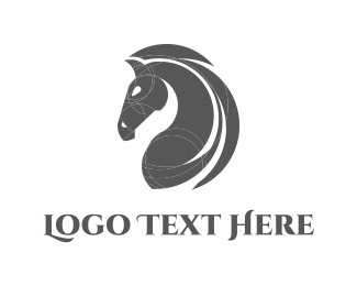 Pony - Grey Horse logo design