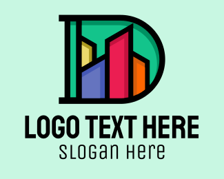 Urban Planner - Colorful Skyline Letter D  logo design