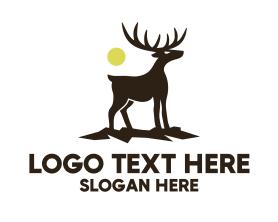 Hiking - Midnight Deer Silhouette logo design