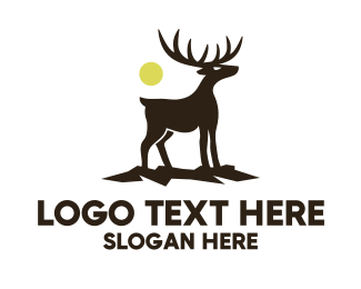 Hiking - Midnight Deer Silhouette logo design