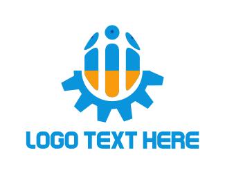 Hi-tech - Blue & Orange Screw logo design