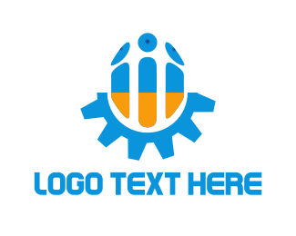 Machine - Blue & Orange Screw logo design