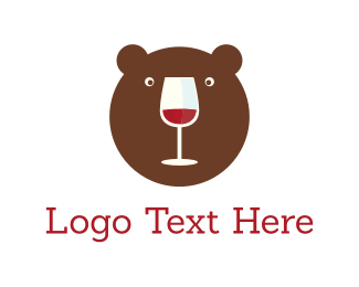 Red Wine - Bear & Wine logo design