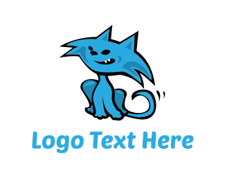 Children - Blue Cat Cartoon logo design