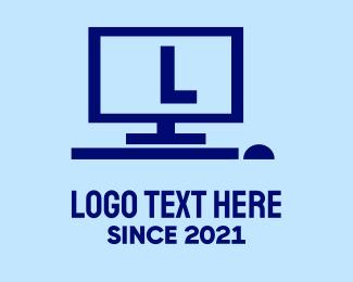 Monitor - Blue Computer Lettermark logo design