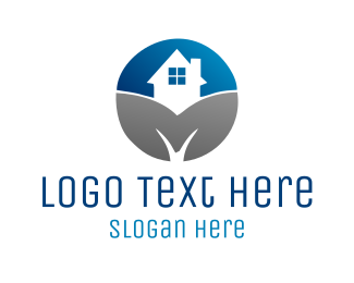 Mortgage And Real Estate Blue & Grey Home logo design