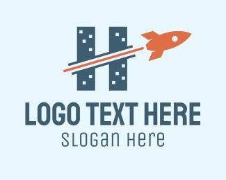 Cosmonaut - Rocket Buildings Letter H logo design
