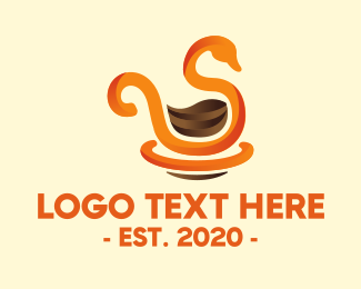 Heron - Swan Cafe Coffee logo design