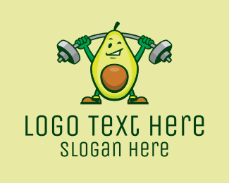 Butter Fruit - Healthy Avocado Exercise Mascot  logo design