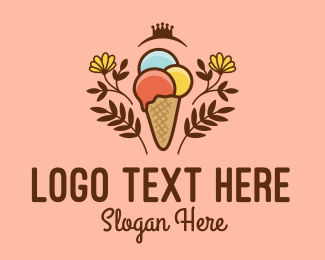 Cone - Flower Ice Cream Shop  logo design