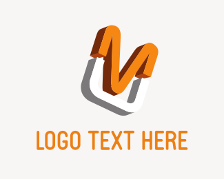 Cable - Orange Letter M logo design