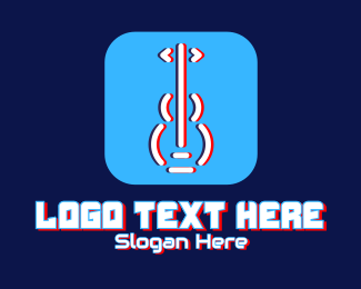Acoustic Guitar - Glitchy Guitar App  logo design