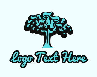 Black Tree - Water Tree logo design