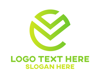 Hybrid - Green Tech E Outline logo design