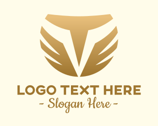 """Gold Luxury Letter V Wings "" by Mypen"