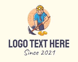 Stock - Coin Miner Mascot logo design