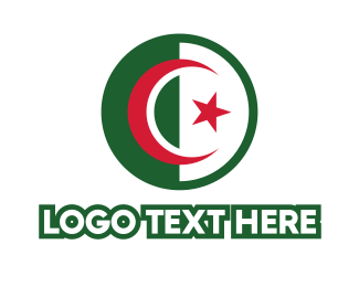 Algeria - Circle Algeria Flag logo design