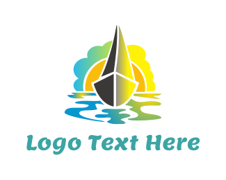 Sailing Boat - Boat & Sunset logo design